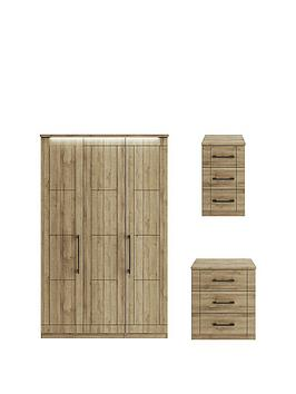 Consort Kardon 3 Piece Package &Ndash; 3 Door Wardrobe With Lights, 3 Drawer Wide Chest And 3 Drawer Bedside Chest thumbnail