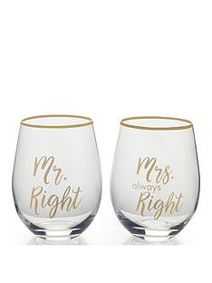 creative-tops-cheers-mr-right-and-mrs-always-right-stemless-wine-glasses-ndash-set-of-2