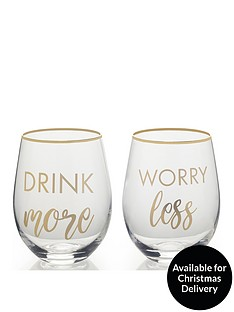 creative-tops-cheers-drink-more-worry-less-stemless-wine-glasses-ndash-set-of-2