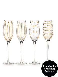 creative-tops-cheers-metallic-gold-champagne-flutes-ndash-set-of-4