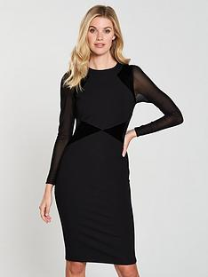 karen-millen-velvet-mix-ponte-dress