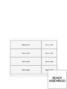Leyton Ready Assembled 4 + 4 Drawer Chest