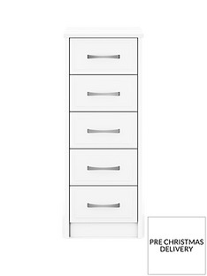 Leyton Ready Assembled 5 Drawer Narrow Chest