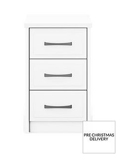 Leyton Ready Assembled 3 Drawer Bedside Chest