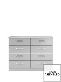 Sanford Ready Assembled High Gloss 4 + 4 Drawer Chest