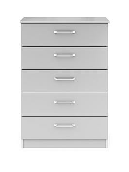 Sanford Ready Assembled High Gloss 5 Drawer Chest