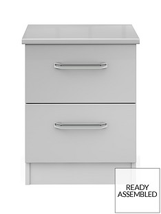 Sanford Ready Assembled High Gloss 2 Drawer Bedside Chest