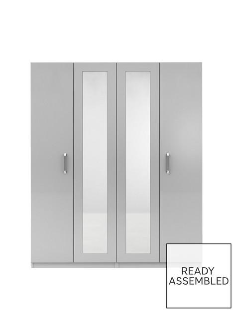 sanford-part-assemblednbsp4-door-high-gloss-mirrored-wardrobe