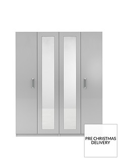 Sanford 4 Door High Gloss Mirrored Wardrobe
