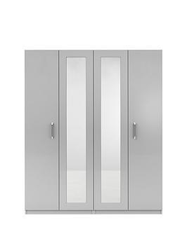 Sanford 4 Door High Gloss Mirrored Wardrobe