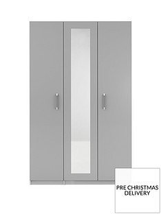 Sanford 3 Door High Gloss Mirrored Wardrobe