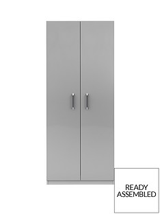Sanford Ready Assembled 2 Door High Gloss Wardrobe