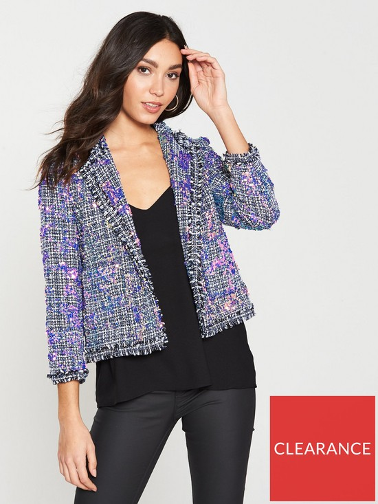 e472afb5 River Island Sequin Boucle Jacket- Blue | very.co.uk