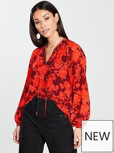 whistles-tie-neck-blouse