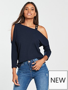 river-island-river-island-one-shoulder-button-detail-top--navy