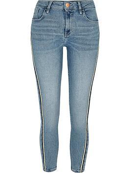 Ri Petite Amelie Side Stripe Skinny Jeans - Light Blue