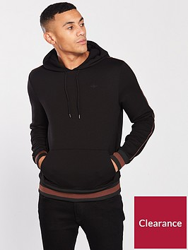 river-island-black-wasp-embroidered-slim-fit-tipped-hoodie