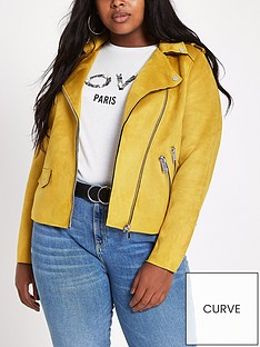ri-plus-faux-suede-biker-jacket-yellow