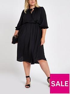 ri-plus-shirred-waist-midi-dress--black