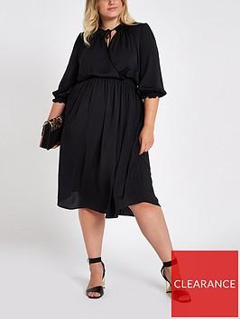 ri-plus-shirred-waist-midi-dress-black