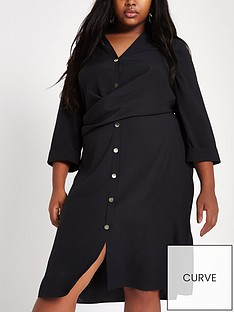 ri-plus-plus-wrap-button-shirt-dress-black