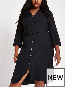 ri-plus-wrap-front-shirt-dress--black