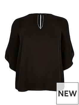 ri-plus-embellished-trim-blouse-black