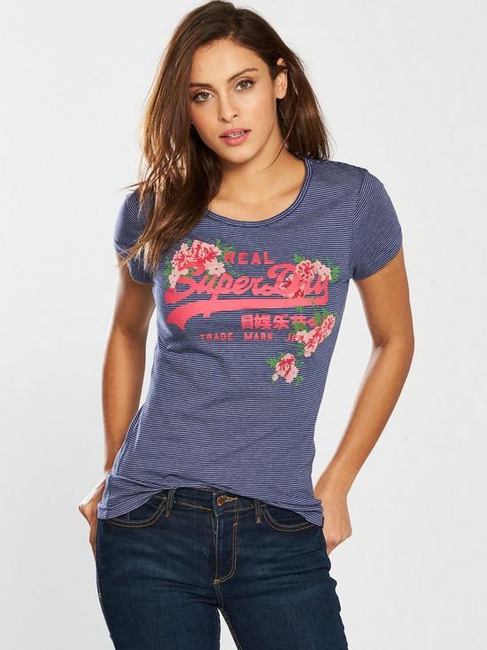 3c29f51620 Superdry Vintage Logo Rose Stripe Entry T-Shirt - Blue | very.co.uk