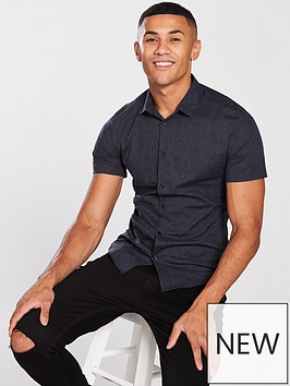river-island-navy-short-sleeve-paisley-muscle-fit-shirt