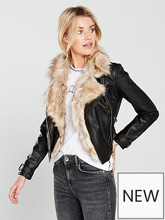 river-island-river-island-faux-fur-trim-biker-jacket--black