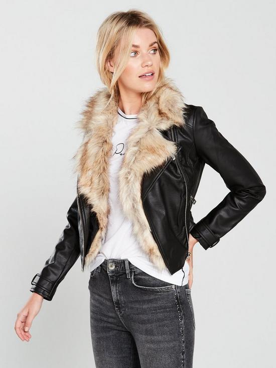 dd0174123 River Island Faux Fur Trim Biker Jacket- Black