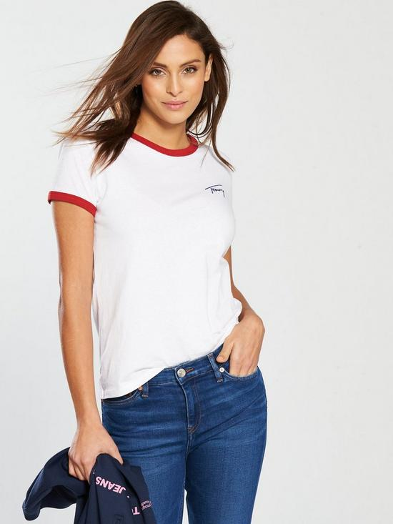 80c0aeb54 Tommy Jeans Signature Logo Piped Ringer T-Shirt - White/ Red | very ...