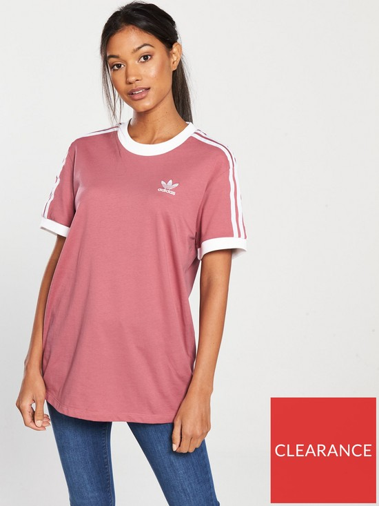 cf6bb247dfc5 adidas Originals 3 Stripes Tee - Dusty Pink   very.co.uk