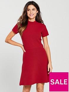 superdry-nanette-textured-high-neck-a-line-dress-red