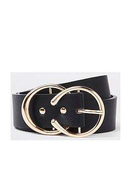 river-island-river-island-gold-double-ring-belt-black