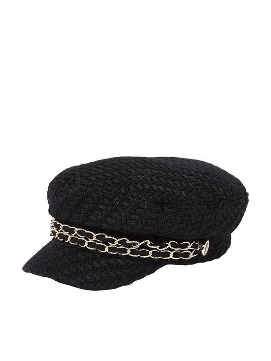 River Island River Island Boucle Baker Boy Hat With Trim - Black ... 24ab16589bb