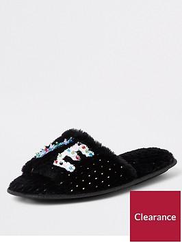 river-island-river-island-love-print-faux-fur-slippers-black