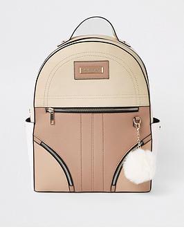 river-island-backpack-with-pom-pom-neutral