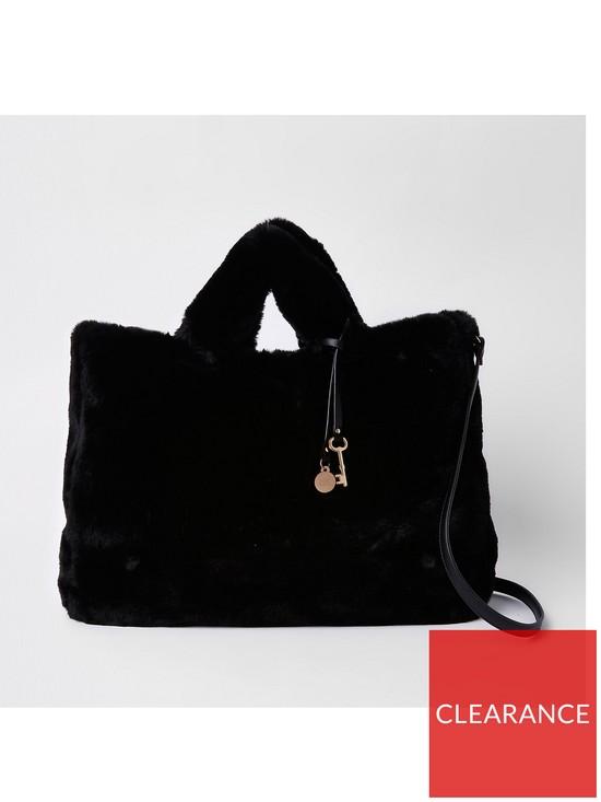 1a4f1f4a4413 River Island River Island Oversized Faux Fur Shopper Bag - Black ...