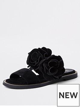river-island-double-strap-3d-flower-sandal-black