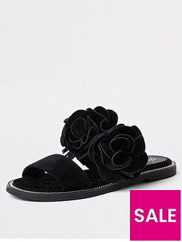 river-island-double-strap-3d-flower-sandal-black