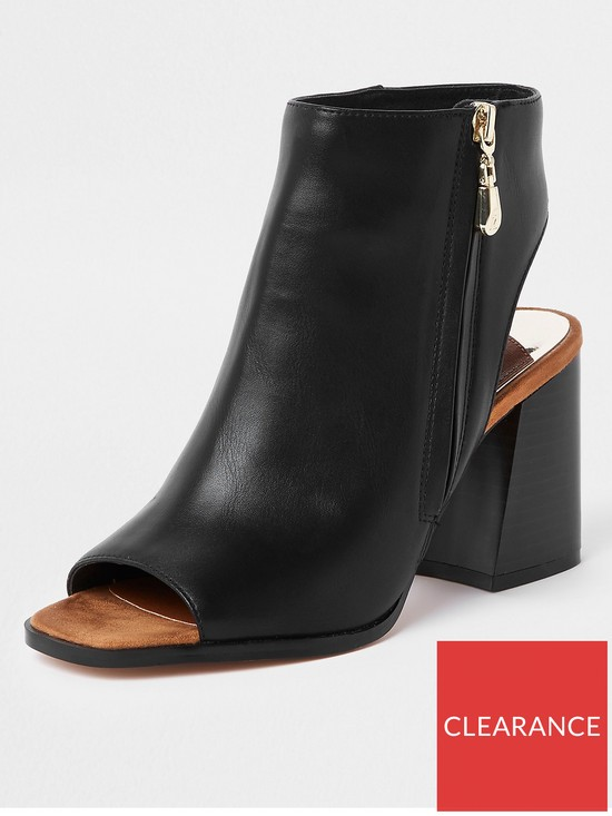 bfdeae89a9 River Island River Island Wide Fit Block Heel Shoe Boot - Black ...