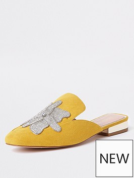 river-island-wide-fit-embellished-backless-loafer-yellow