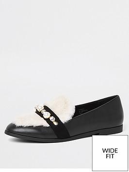 river-island-wide-fit-fur-pearl-detail-loafer-black