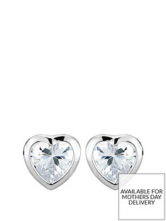 the-love-silver-collection-sterling-silver-cubic-zirconia-heart-stud-earrings