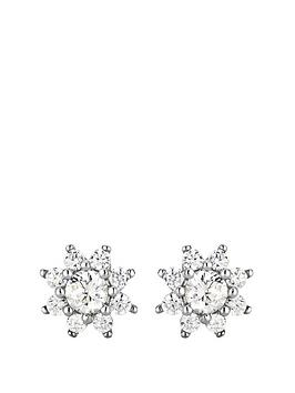 the-love-silver-collection-sterling-silver-cubic-zirconia-flower-cluster-stud-earrings