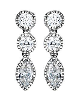 the-love-silver-collection-sterling-silver-cubic-zirconia-round-marquise-drop-earrings