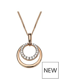 love-gold-rose-gold-plated-sterling-silver-amp-cubic-zirconia-double-circle-pendant-necklace