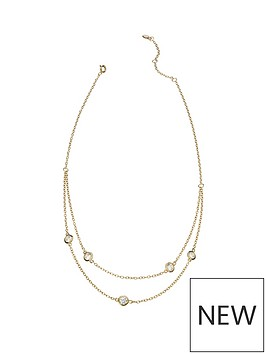 love-gold-gold-plated-silver-cubic-zirconia-two-strand-station-necklace
