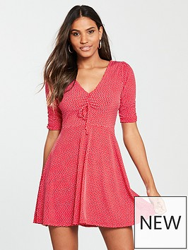 oasis-spot-rouched-tea-dress